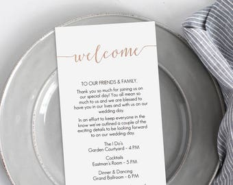 Rose Gold Foil Welcome Card Printable - Instant Download - DIY Template - Editable PDF - Printable Wedding Welcome - 4x9 inches - #GD1803
