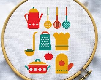 Kitchen cross stitch pattern, PDF cross stitch,  Instant Download, teapot cross stitch, MCS055