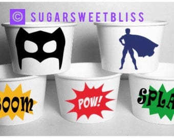 Superhero Birthday Party Cups Favors Treat Boels Containers Personalized Customized Name Boy Super Hero