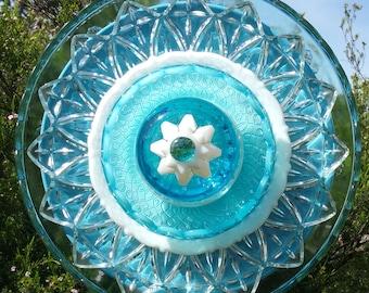 Glass Flower Garden Art, Glass Flower, Yard Art Decoration, Unique, Garden Gift, Turquoise, Patio Party, Outdoor Decor, Lin Moon Designs