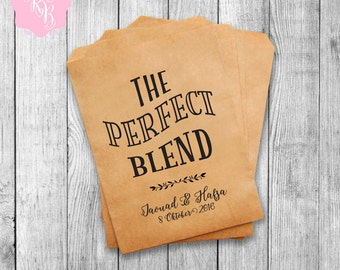 Personalized Wedding Favor Bags Set of 20 The Perfect Blend Party Favor Bags  Cookie Buffet Bags  Bags Custom Wedding Favors Style 019