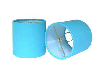 Chandelier Shade Sconce Clip-On Lamp Shade Lampshade Linen Aqua Turquoise Blue Made to Order