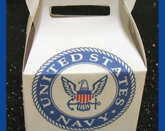 Navy party favor boxes, Navy promotion favors