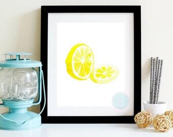 PRINTABLE ART Kitchen Decor Lemon Print Citrus Fruit Print Small Art Print Contemporary Print Kitchen Art Decor  Food Wall ArtFine Art Print