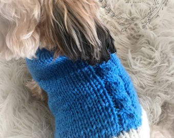 Blue and White Male Dog Sweater Hand Knit Small