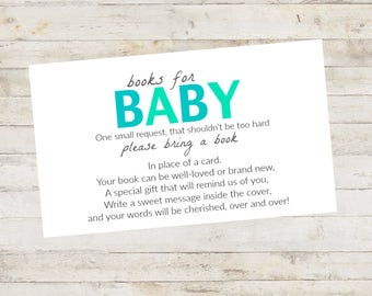 Baby Shower Printable, Baby Shower Bring a Book Card, Bring a Book Instead of a Card, Bring a Book Baby Shower Insert Baby Boy Blue Mint