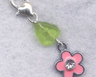 Pink Flower Stitch Marker Clip Enameled Crystal Rhinestone Single /SM208A