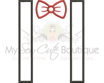 Bowtie and Suspenders Applique - Individual Appliques - 11 Sizes  - Instant Download