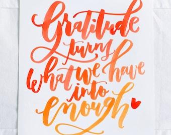Gratitude Watercolor Art Print - Digital Download