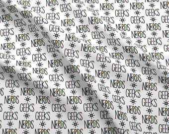 Nerdy Geeks Fabric - Geeks And Nerds By Andibird - Geeky Nerds School Kids Cotton Fabric By The Yard With Spoonflower