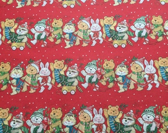 Christmas Gift Wrap - Animal Parade Tissue Paper - Festive Tissue Paper - Red Tissue Paper - Cute Tissue Paper / 5 sheets