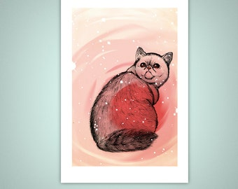 Trippy Exotic Shorthair Cat 4x6 Giclee Illustration Art Print, Home Decor, Pets, Offbeat, Catnip, Psychedelic, Pink, Velvet Matte Finish