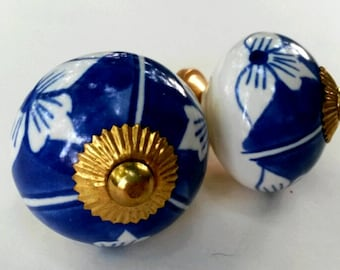 Pair of Blue & White Porcelain Cabinet Knobs - 2 Drawer Pulls Blue and White China