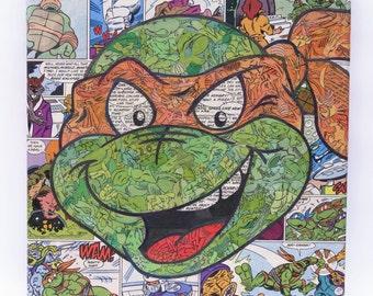 Teenage Mutant Ninja Turtles Michaelangelo Original Comic Collage