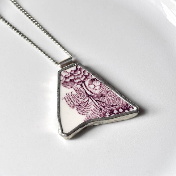 Broken China Jewelry Pendant - Purple and White Transferware