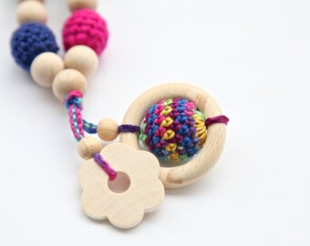 Bright multicolour floral necklace. Mommy and baby teething necklace. Girls crochet necklace.