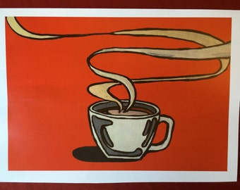COFFEE CUP RED art print