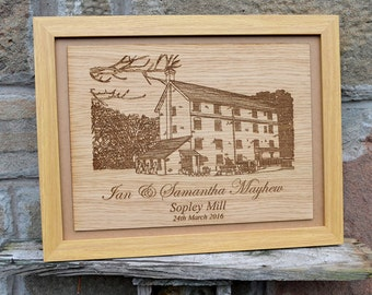 Personalised Wedding Venue Portrait - Commissioned Drawing of Wedding Venue