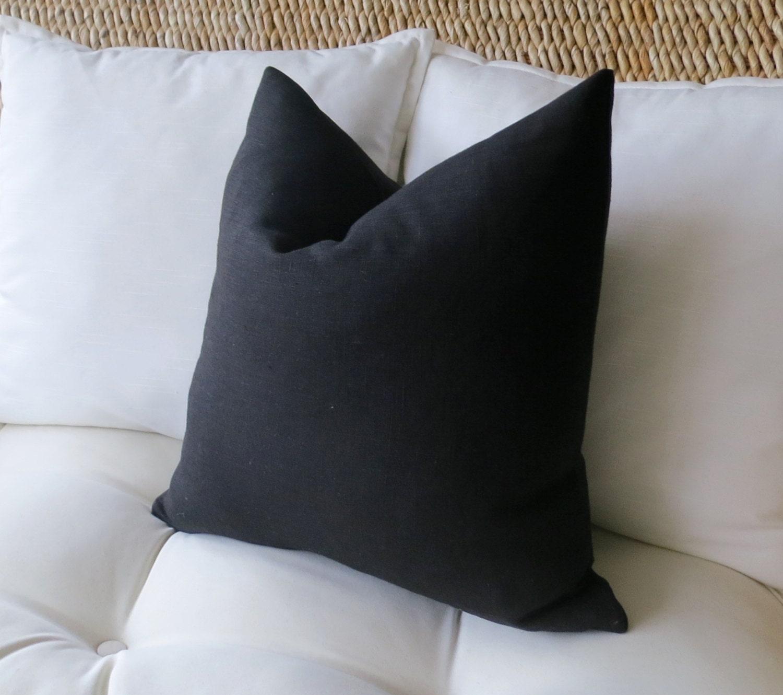 Black Linen Pillow Cover Solid Pillow Cover Euro Sham
