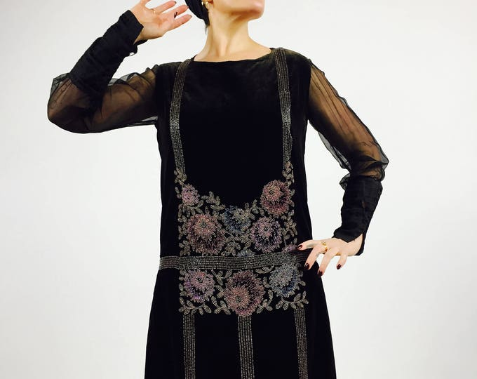 RARE 1920's Antique Beaded Velvet and Silk Chiffon Flapper Dress - Collectible Piece - Art Nouveau Handed Beaded Design - Great Gatsby - Med