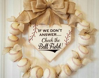 Baseball Wreath with Burlap Bow - Softball - Coach's Gifts- Baseball - Front Door Wreaths- Spring Summer Wreath - Check the Ballfield