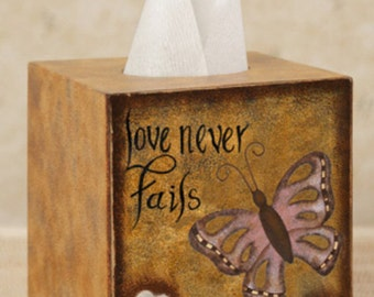 Tissue Box Cover Kleenex Box Cover Butterfly and flowers Kids Decor Girls Decor Love Never Fails Bath Inspirational