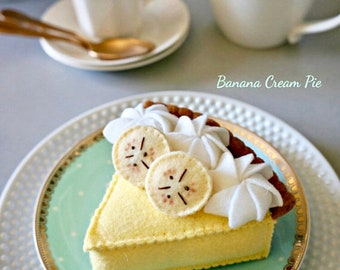 Felt Banana Cream Pie-Felt Food-Pretend Play