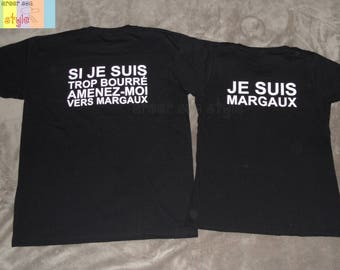 """Duo t-shirt personalized for couple """"I'm too drunk take me to..."""" tee shirt humour duo"""
