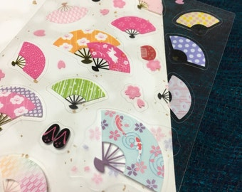Japanese fan sticker. Japanese traditional Patterns.