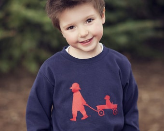 Boy with a Wagon Nostalgic Graphic Tee Shirt in Long Sleeves - Navy with Red FREE SHIPPING