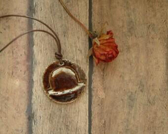Bowler Derby Hat Stoneware Pendant Necklace | Rustic Men | Diffuser Jewelry | Primitive Lumberjack |  Essential Oils | Wearable Art Jewelry