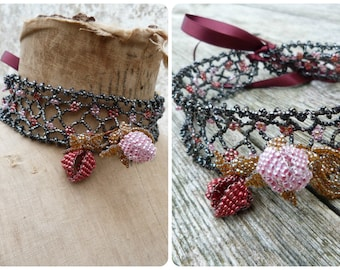 Boudoir doll Handmade in France large beaded lace  CHOKER necklace Antique glass seeds beads
