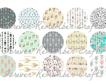 INSTANT DOWNLOAD Tribal Arrows  Bottle Cap Image Sheet *Digital Image* 4x6 Sheet With 15 Images