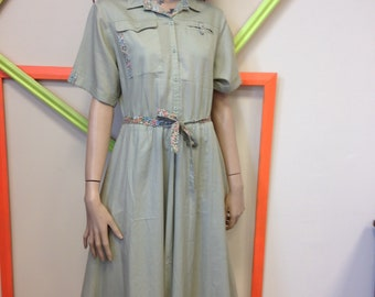 Vintage, 80s, Gigi, Sage green, button down, day dress, size 12, shirt dress, safari, khaki, military
