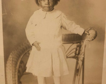 RPPC Real Photo Postcard of Child on Chair