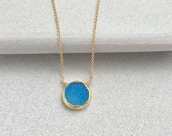 Blue Druzy Pendant Necklace - Druzy Necklace - Druzy Jewelry