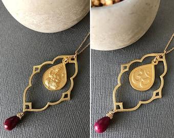 Gold Ganesha Necklace, Ganesh Necklace, Ganesha Pendant Necklace, Yoga Jewelry, Hindu jewelry, Ganesh, Spiritual Jewelry, Lotus411
