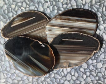 Agate Coasters Set of 4 ~ Agate Coasters  DARK BROWN~ Geode Coasters Geode Coaster Set ~ Natural Edge. Black, White,