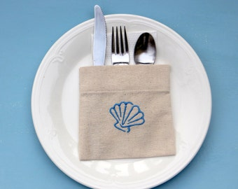 Seashells linen,  table linen, silverware holders, flatware pockets,  utensil holders