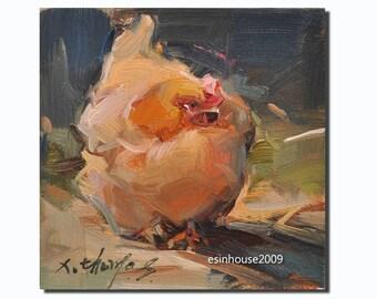 Christmas present、Western hen portrait chicken Original oil Painting  on canvas panel 15CMX15CM
