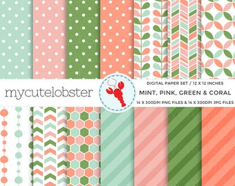Mint, Pink, Green, Coral Digital Paper Set - patterned paper pack, polka, stripe - personal use, small commercial use, instant download