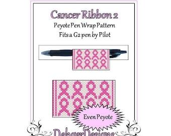 Bead Pattern Peyote(Pen Wrap/Cover)-Cancer Ribbon 2