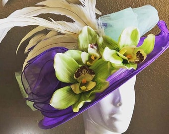 Easter Purple Flower Green Mint Cream Lg Church Contest High Tea Kentucky Derby Royal Ascot Breeders Cup Melbourne Del Mar Races