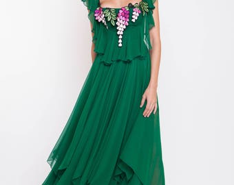 Silk chiffon midi dress with handmade embroidery