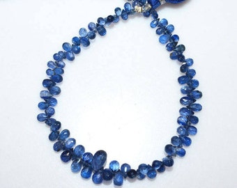 """1 Strand Brand New Kyanite Tear Drop Faceted Briolette - Kyanite Briolette, Sold By Strand, 3x4 - 6x12 mm, 8"""" - BL3777"""