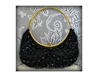 Women's black clutch, Formal purse, Vintage clutch, Evening Bag, Coin purse, Black purse, Beaded handbag
