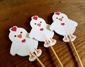 Farm Birthday Party - Set of 12 Rooster Cupcake Toppers by The Birthday House
