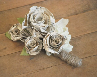 Old Sheet Music Corsage, Paper Flower For Special Occasions, Music Themed Paper Roses for Music Lover, Recital Corsage