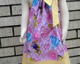 Disney princesses on pink Pillowcase Dress, Sizes 3M  up to 7 years