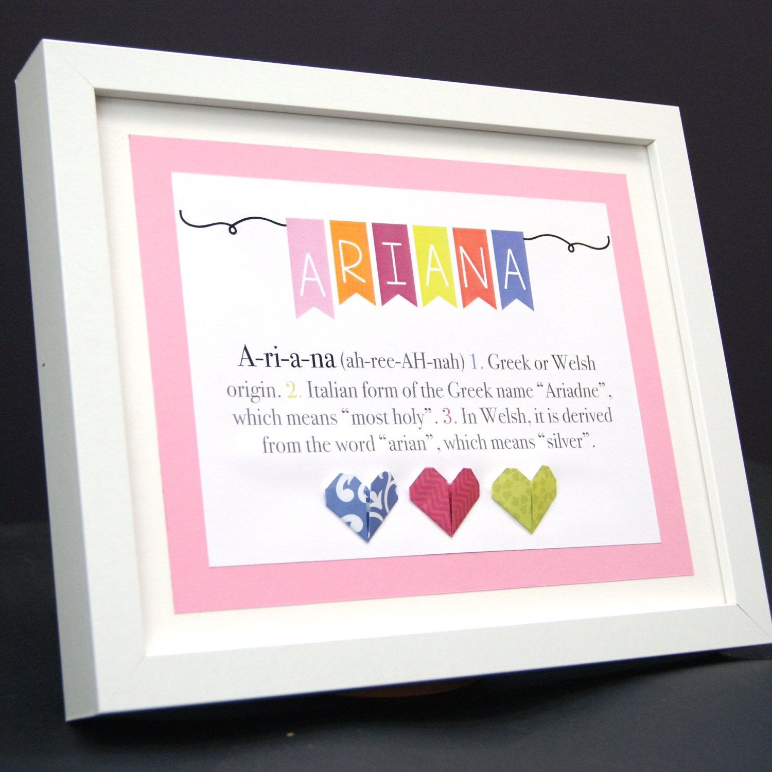Personalized Name Origin and Meaning Paper Origami Frame